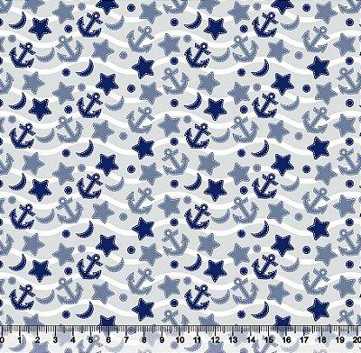 Tecido tricoline âncora estrela mar