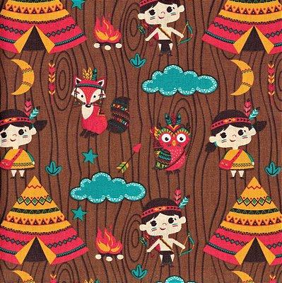 Tecido tricoline índio raposa infantil