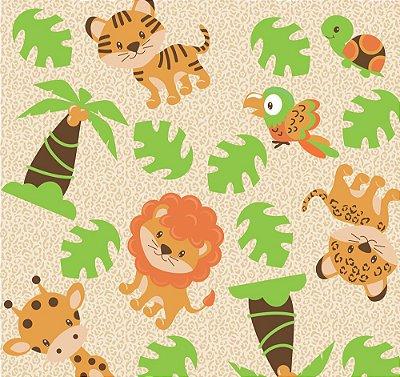 Tecido tricoline safari tigre leão arara onça tartaruga girafa