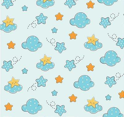 Tecido tricoline infantil estrela e nuvem azul
