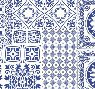 Tecido tricoline azulejo português