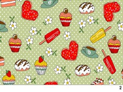 Tecido tricoline doces bolo cupcake e coração