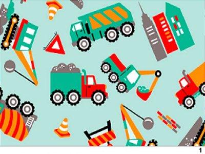 Tecido tricoline caminhão infantil