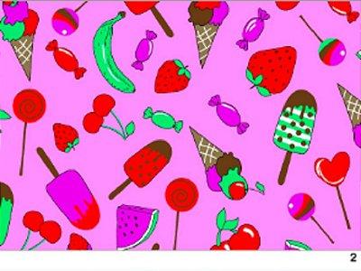 Tecido tricoline doces e frutas
