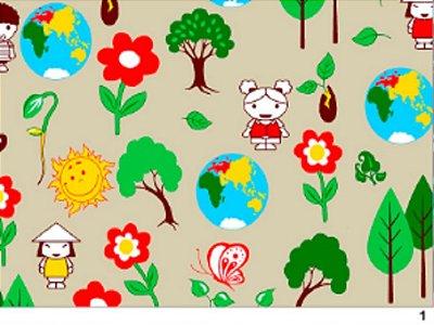 Tecido tricoline terra árvores meio ambiente infantil