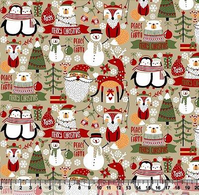 Tecido Tricoline Natal Moderno Papai Noel, Pinguins e Boneco de Neve