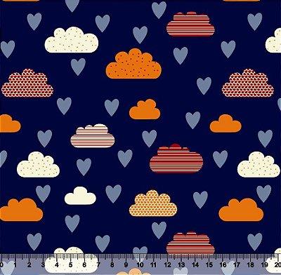 Tecido Tricoline Nuvens Coração