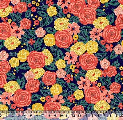 Tecido Tricoline Floral Médio Moderno