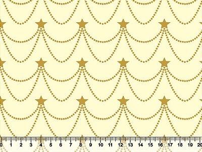 Tecido Tricoline - Natal - Estrelas Cordões - Dourado