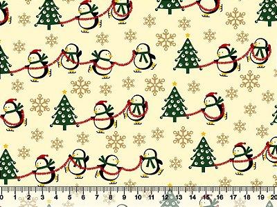 Tecido Tricoline - Natal - Pinguins Natalinos