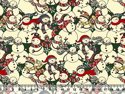 Tecido Tricoline - Natal - Boneco de Neve Natalino