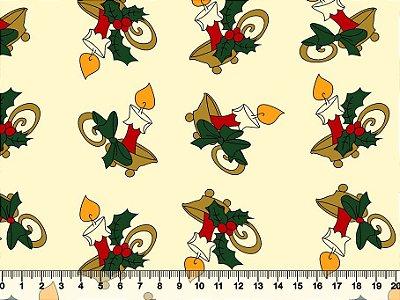 Tecido Tricoline - Natal - Velas Castiçal Natalino