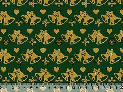 Tecido Tricoline - Natal - Sinos Dourados Corações Natalinos