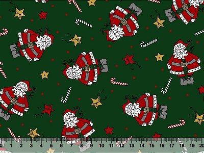 Tecido Tricoline - Natal - Papai Noel Estrelas e Bengalas Natalinas