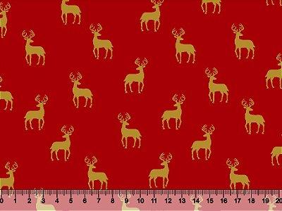 Tecido Tricoline - Natal - Renas Natal
