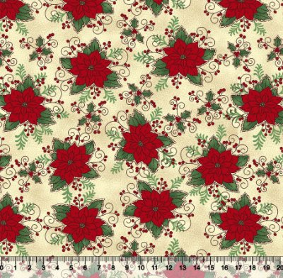 Tecido Tricoline - Natal - Flor Bico de Papagaio e Folhas Natalino