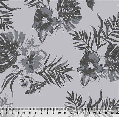 Tecido Tricoline Floral Hibiscos e Folhagens