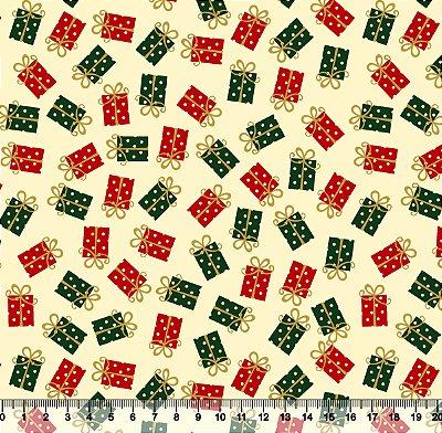 Tecido Tricoline Natal Presentes