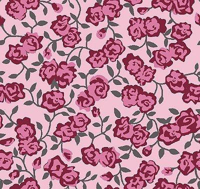 Tecido Tricoline Floral mini rosas