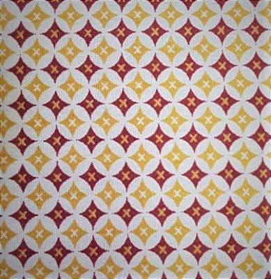 Tecido tricoline Geométrico Círculo Losango Xis
