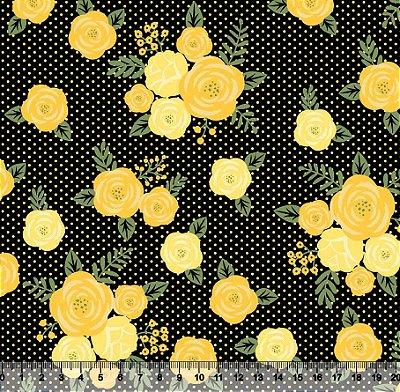 Tecido Tricoline Floral Moderno Poá
