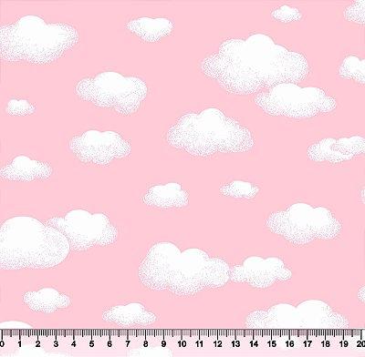 Tecido Infantil nuvem rosa