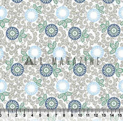 Tecido Tricoline Floral Arabescos