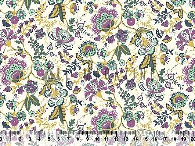 Tecido Tricoline Floral Clássico Vintage 2507