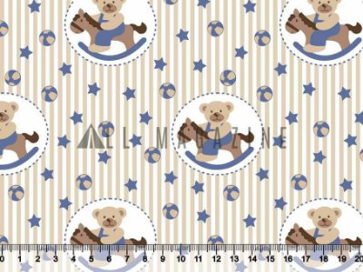 Tecido tricoline ursinhos cavalo de balanço