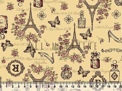 Tecido Tricoline Paris Rosas Torre Eiffel