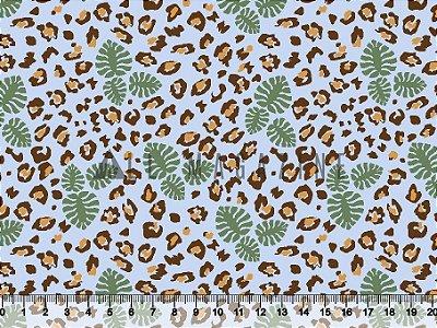 Tecido Tricoline Folhas Oncinha