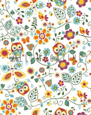 Tecido Tricoline Coruja Floral Folhas
