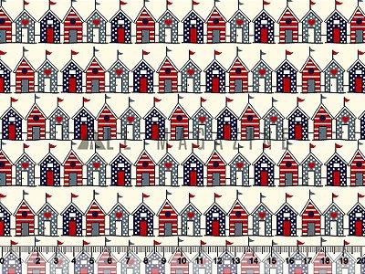 Tecido tricoline Casinhas com Bandeiras