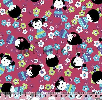 Tecido tricoline Boneca Japonesa