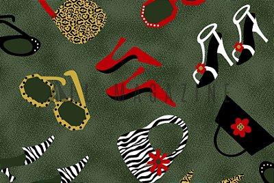 Tecido tricoline Bolsas Sapatos Óculos
