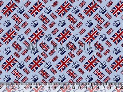 Tecido tricoline Coroa Bandeira Londres