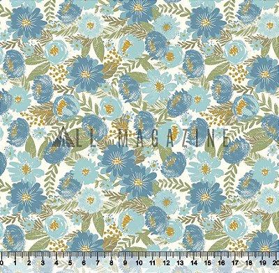 Tecido tricoline Floral Médio Azul Detalhes em dourado