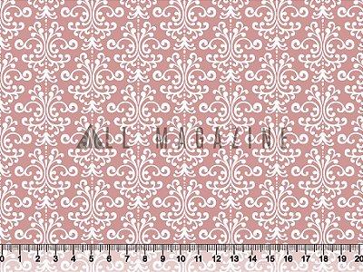 Tecido tricoline Arabesco clássico fundo rosa