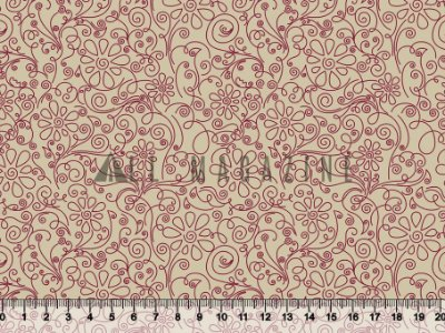 Tecido tricoline Contorno Floral Rococó