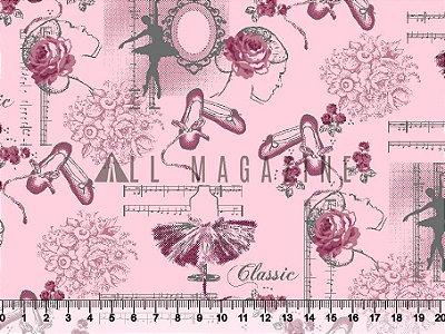 Tecido tricoline Rosas Bailarina Clássica Coral