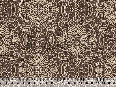 Tecido tricoline Arabesco Vintage Clássico Marrom
