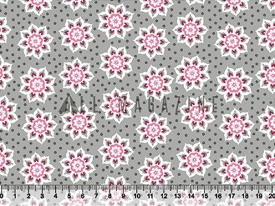 Tecido tricoline Floral Mandala Cinza e rosa