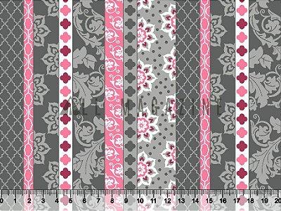Tecido tricoline Listras Decoradas Arabescos e Formas Cinza e Rosa