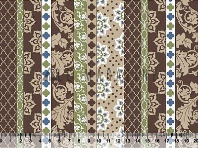Tecido tricoline Listras Decoradas Arabescos e Formas Marrom e Verde