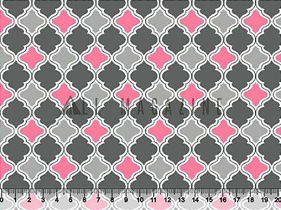 Tecido tricoline geométrico Marroquino Cinza e rosa