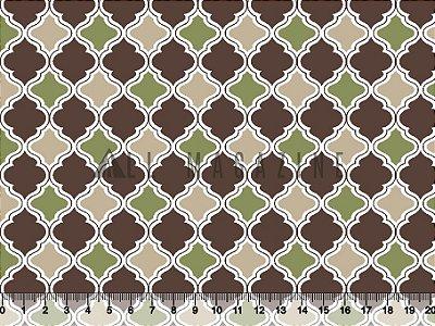 Tecido tricoline geométrico Marroquino Marrom e Verde