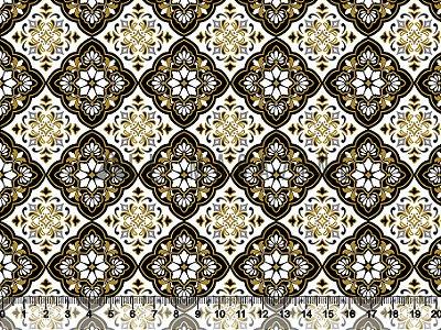 Tecido tricoline Xadrez Mandala Amarelo e Preto