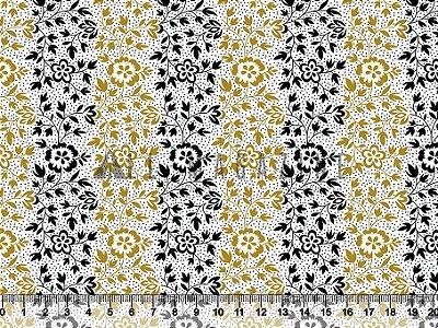 Tecido tricoline Floral Delicado Listras amarelas e pretas