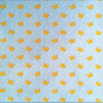 Tecido tricoline Coroa Infantil Azul