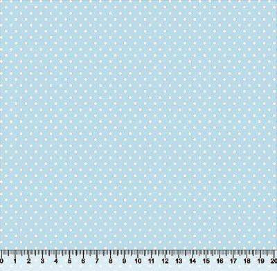 Tecido Tricoline Poá Pequeno Branco com Fundo Azul Bebê 86PFT